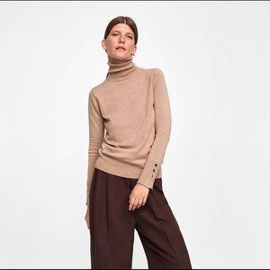 Tan knit turtleneck sweater from ZARA